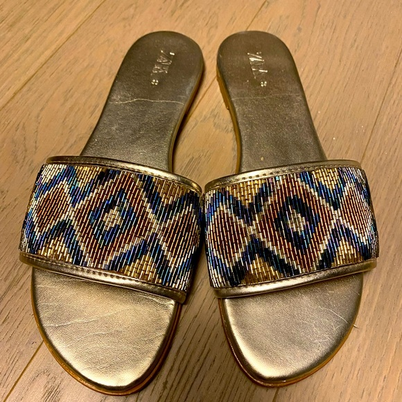 Zara metallic gold and beaded sandals size 39